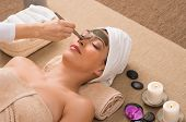stock photo of algae  - Beauty Spa Treatment With Facial Mask - JPG
