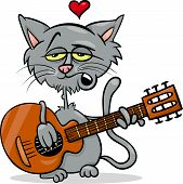 Cat In Love Cartoon Illustration
