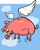 When Pigs Fly Cartoon Illustration