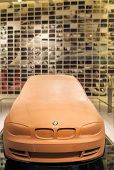 MUNICH, GERMANY - JUNE 17, 2012: Bmw 3Rd Series Clay Model On Stand In Bmw Museum on June 17th , 201