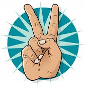 Pop Art Victory Hand Sign.