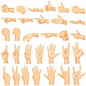 stock photo of begging  - vector illustration of collection of hand gestures - JPG