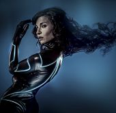 Future women concept, black latex with neon lights