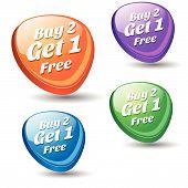 Buy 2 Get 1 Colorful Vector Icon