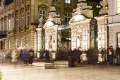 The Main Gate To The University Of Warsaw At Night