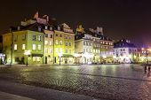 Townhouses At The Castle Square At Night