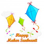 stock photo of pongal  - illustration of Makar Sankranti wallpaper with colorful kite - JPG