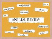 Annual Review Corkboard Word Concept