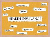 stock photo of mandates  - Health Insurance Corkboard Word Concept with great terms such as premium costs benefits and more - JPG