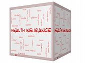 Health Insurance Word Cloud Concept On A 3D Cube Whiteboard