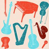 Seamless pattern with musical instruments