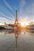 View on the Eiffel tower from the Trocadero Paris France