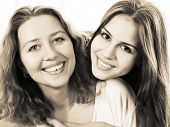 foto of grown up  - Black and white close up portrait of a mother and teen daughter being close and hugging at home being happy and joyful - JPG
