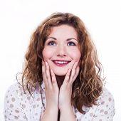 Close-up portrait of surprised beautiful girl.