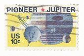 United States Stamp of Jupiter and the Spaceship Pioneer