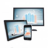 Monitor, tablet and smartphone