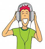 Guy Listening Music On Huge Headphones