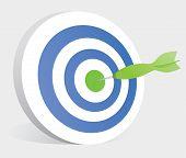 Dart Hitting Center Of A Target or Bullseye