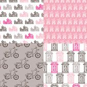 Seamless holland illustration dutch icon background pattern in vector
