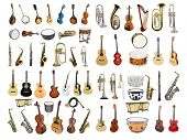 stock photo of trumpets  - Musical instruments isolated under a white background - JPG