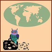 Cute Owl with suitcases in cartoon stile, vector illustration to the concept of tourism. Globe silue