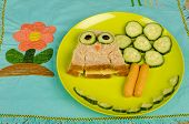 foto of sandwich  - Owl shaped sandwich for kids healthy food - JPG