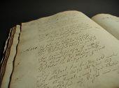 An Antique Book Written In Old German Font.