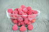Raspberries In Glass Bowl