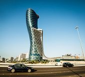 ABU DHABI, UAE - DECEMBER 18: The Capital Gate Tower on the December 18, 2013 in Abu Dhabi, This is certified as the Worlds Furthest Leaning Manmade in the world.