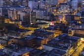 SAN FRANCISCO, CALIFORNIA - JANUARY 13, 2013 : Night view of historic Chinatown and Nob Hill distric