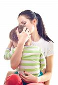 stock photo of crying boy  - Mother calms a crying child - JPG