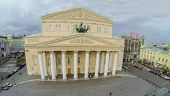 MOSCOW - OCT 20: View from unmanned quadrocopter to Bolshoi Theatre against the cloudy sky on Octobe