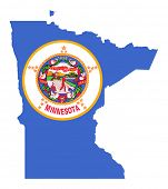 State of Minnesota flag map isolated on a white background, U.S.A.