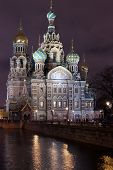 The Saviour On The Blood At Night In Saint-petersburg