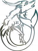Silver capricorn Astrology sign Vector zodiac