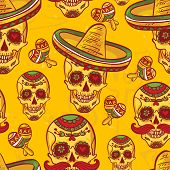 pic of day dead skull  - Skull in sombrero Day of The Dead - JPG