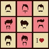I love vintage hipster hair styles and mustaches, vector illustration