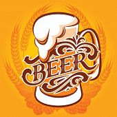 image of malt  - vector glass of beer on a yellow background for the menu - JPG