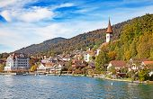 Oberhofen village on the lake Thun, Switzerland