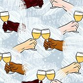 human hands with glasses of champagne making toast colorful happy new year seamless pattern