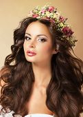 image of auburn  - Classy Fashion Model with Perfect Flossy Brown Hair and Wreath of Flowers - JPG