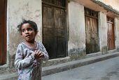 Dark-skinned African Muslim Girl 10 Years Old, Tanzania, Zanzibar Island.