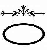 picture of fleur de lis  - Wrought iron hanging sign for old town storefront with a vintage style - JPG