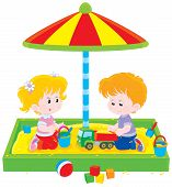 stock photo of little young child children girl toddler  - Little girl and boy playing in a sandpit on a children playground - JPG