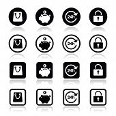 Shopping icons set - account, save, 24h, shopping bag