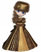 Toon Winter Prinzessin in gold