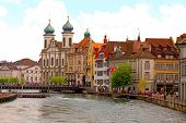 Jesuit Church And Waterfront , Lucerne, Switzerland
