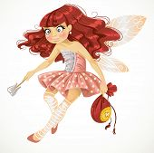 Pretty red haired tooth fairy in pink