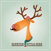 Vector Illustration Hipster Reindeer Greeting Card Design Template Background
