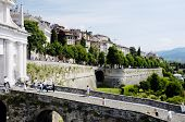 ERGAMO, LOMBARDY, ITALY - MAY 29: Scenery and the town wall of the Bergamo Citta Alta, May 29, 2011